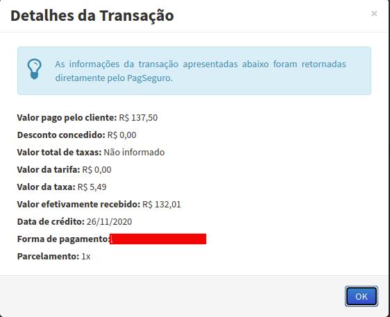 detalhes de transação pagseguro no conexa
