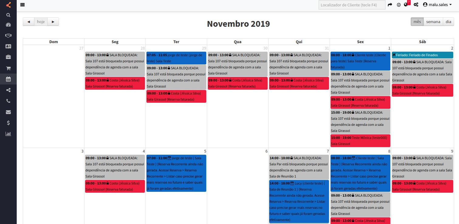 Visualização de dependência na agenda de salas